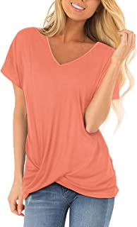 Womens T Shirts Short Sleeve V Neck Solid Color Twist Knotted Summer Casual Tops