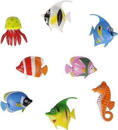Pack of 8 - Colourful Assorted Artificial Plastic Bubble Lamp Aquarium Tropical Fish/Jellyfish & Seahorse
