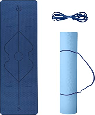 Yoga Mat Premium 8mm Thick Fitness Mat,with Alignment Lines Eco Friendly High Density Padding for Women & Men,Non Slip,Avoid Sore Knees,Perfect for Yoga & Pilates
