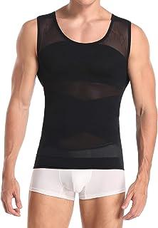 Derssity Men's Compression Vest Top Belly Slimming Body Shaper Undershirt to Hide Man Boobs