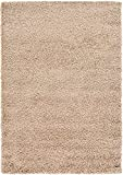 Unique Loom Solo Solid Shag Collection Area Modern Plush Rug Lush & Soft, 4' 0 x 6' 0, Taupe