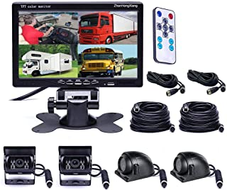 """Vehicle Backup Cameras Monitor System 12V/24V,4 x HD 1080P Front Side Rear View Camera + 7"""" inch Quad Split 4CH Car LCD IP..."""