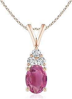 Oval Pink Tourmaline Solitaire Pendant with Trio Diamond (8x6mm Pink Tourmaline)