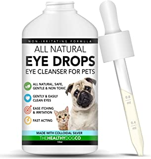 The Healthy Dog Co Colirio para Perros, Gatos y Mascotas - con Plata coloidal para conjuntivitis - Limpiador de Ojos Segur...