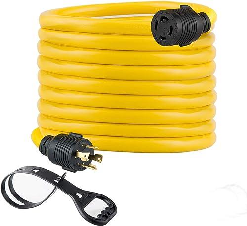 Yodotek 25FT Heavy Duty Generator Locking Power Cord NEMA L14-30P/L14-30R,4X10 Gauge SJTW Cable, 125/250V 30Amp 7500 ...