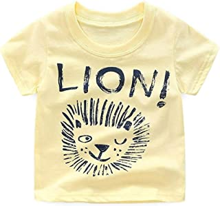 ALLAIBB Baby T-Shirts Boys Short Sleeve Kids Summer Clothing Lion Solid Color Animal Pattern Round Neck Sports Boys Western Style Fashion Wild Casual babys tops(2-7T)