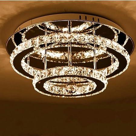 Plafonnier LED en cristal moderne, 30cm ronde double couche, 36W 3000k Diamond Lustre Style luminaire de plafond Lighting Crystal Chandelier