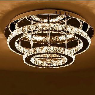 Plafonnier LED en cristal moderne, 30cm ronde double couche, 36W 3000k Diamond Lustre Style luminaire de plafond Lighting ...
