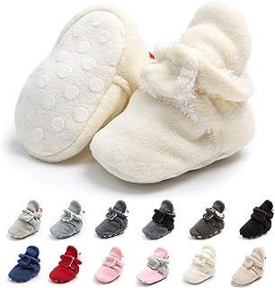 Meckior 新生儿女婴男童保暖羊毛冬靴*步行者拖鞋 E-white With Hook&loop 6-12 Months Infant