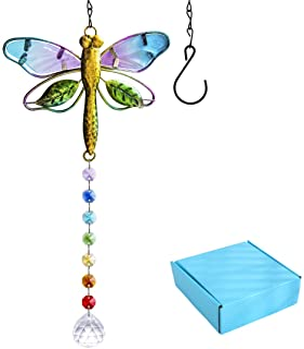 YU FENG Suncatcher Metal Dragonfly Crystal Prisms Rainbow Maker Pendant Window Hanging Ornament for Garden Home Decor