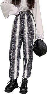 (ライチ) Lychee パンツ レディース ストライプ ブラック 蛇の紋 秋冬 美脚 10分丈 ダンス ヒップホップ カジュアル