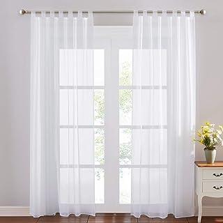 PONY DANCE Voilages Blanc de Fenêtre - Voile Draperies Rideaux Panneaux Décoration de Maison Chambre Organza Tulle Transpa...