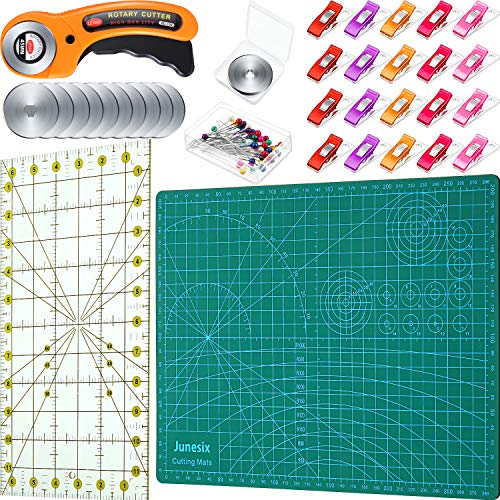 85 Pieces Rotary Cutter Set, Including 45 mm Rotary Cutter with 12 Pieces 45 mm Rotary Cutter Blade, Rotary Cutting Mat, 20 Pieces Sewing Clips 50 Pieces Sewing Pins and Quilting Ruler for DIY Craft