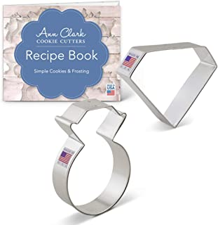 Ann Clark Cookie Cutters 2-Piece Engagement Cookie Cutter Set with Recipe Booklet, Diamond Gem & Engagement Ring