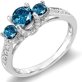 1.00 Carat (ctw) 14k Round White And Blue Diamond 3 Stone Ladies Bridal Engagement Ring 1 CT, White Gold
