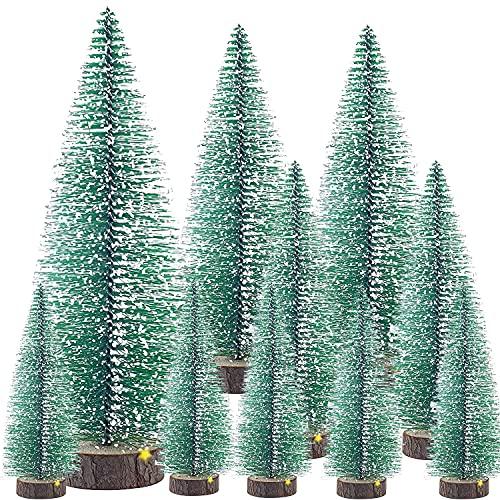 Doyomtoy Mini árbol de Navidad, árbol de Navidad Artificial, árbol de Navidad en Miniatura, Árbol De Navidad con Base De Madera,Adecuado para Sala De Estar y La Mesa Comedor,Decoración de Navideño/DIY
