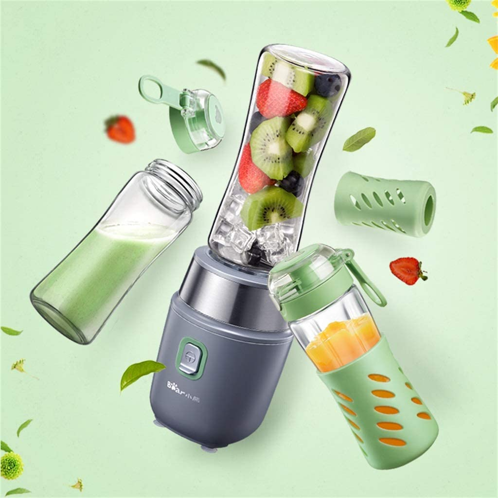 Exprimidor Creative Light Juicer portátil, Taza de Jugo Fresca Multiuso del hogar, Mini Taza de Jugo eléctrica, Taza de Jugo Portable 500ml * 2 (Color : Gray) Gray