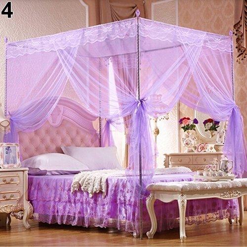 Portátil Estilo 4 Corner Post Romantic Princess Lace Canopy Mosquito Net No Frame para Twin Full Queen King Cama de Cama de Cama de Cama para el hogar Interior al Aire Libre (Color : Purple Full)
