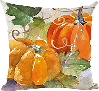 ramirar Hand Painted Ink Oil Painting Watercolor Orange Pumpkins Green Leaves Fall Autumn Decorative Throw Pillow Cover Case Cushion Home Living Room Bed Sofa Car Cotton Linen Square 18 x 18 Inches