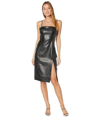 Susana Monaco Faux Leather Thin Strap Slit Dress
