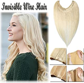 Hidden Wire Hair Extensions Human Hair Platinum Blonde No Clip in 16 18 20 Inch Long Straight Remy Hair Translucent Wire Invisible Fish Line (20'' #60)