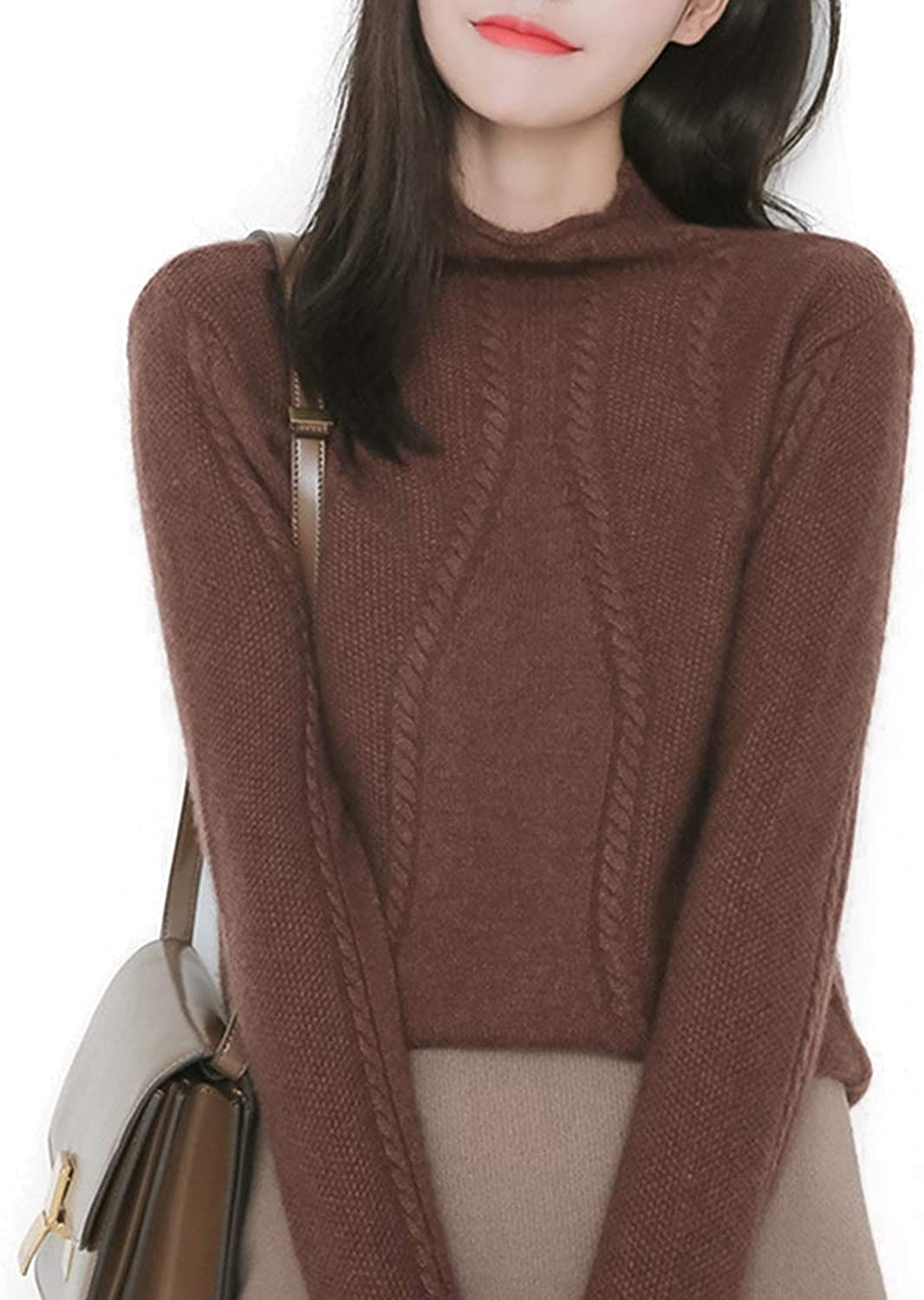 CTARCROW Long Sleeve Women's Knit Sweater High Collar Warm Thick Sweater (color   Coffee, Size   M)