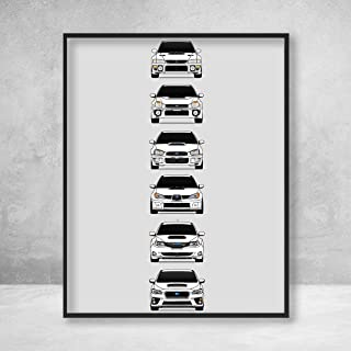 Subaru WRX Poster Print Wall Art of the History and Evolution of the Impreza WRX Generations (White Cars)