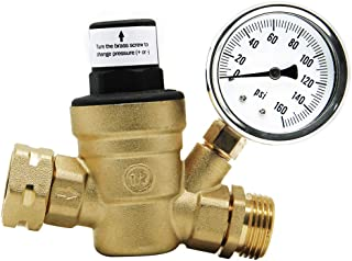 Twinkle Star RV Water Pressure Regulator Valve with Gauge and Inlet Screened Filter for..