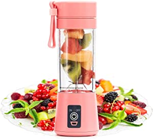 Y T, Portable Blender, 380 ML Six Blades Personal Blender, Smoothies and Shakes Blender, USB Rechargeable Blender for Home, Kitchen, Office, Travel, Gym, Picnic (PİNK)