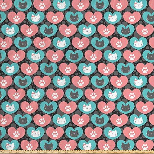 ABAKUHAUS Gato Tela por Metro, Lindo Gatito Retrato Del Corazón, Decorativa para Tapicería y Textiles del Hogar, 1M (148x100cm), Pale Mar Verde Pálido Gris Rosado
