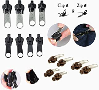 Zomate Zipper Zip Repair 18 Pcs/Set Universal Instant Slider Bulk Heavy Duty Replacement Kit for Sewing Tool for Color Black Silver Brown Hobby Lobby Corset Jacket Clothes Bag Tense