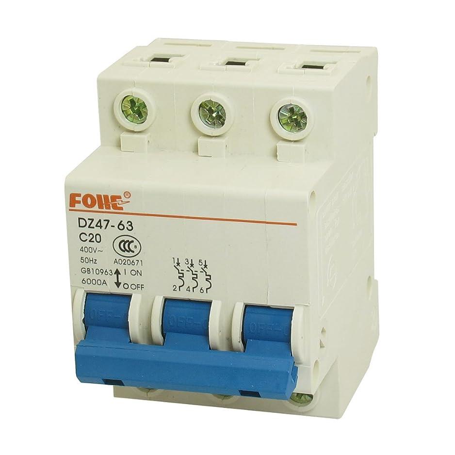 ライオン定期的早熟uxcell 電路ブレーカー サーキットブレーカ 安全ブレーカー 遮断器 小型漏電ブレーカ 回路保護部品 AC 400V 20A 3極 3P DZ47-63 C20 プ.