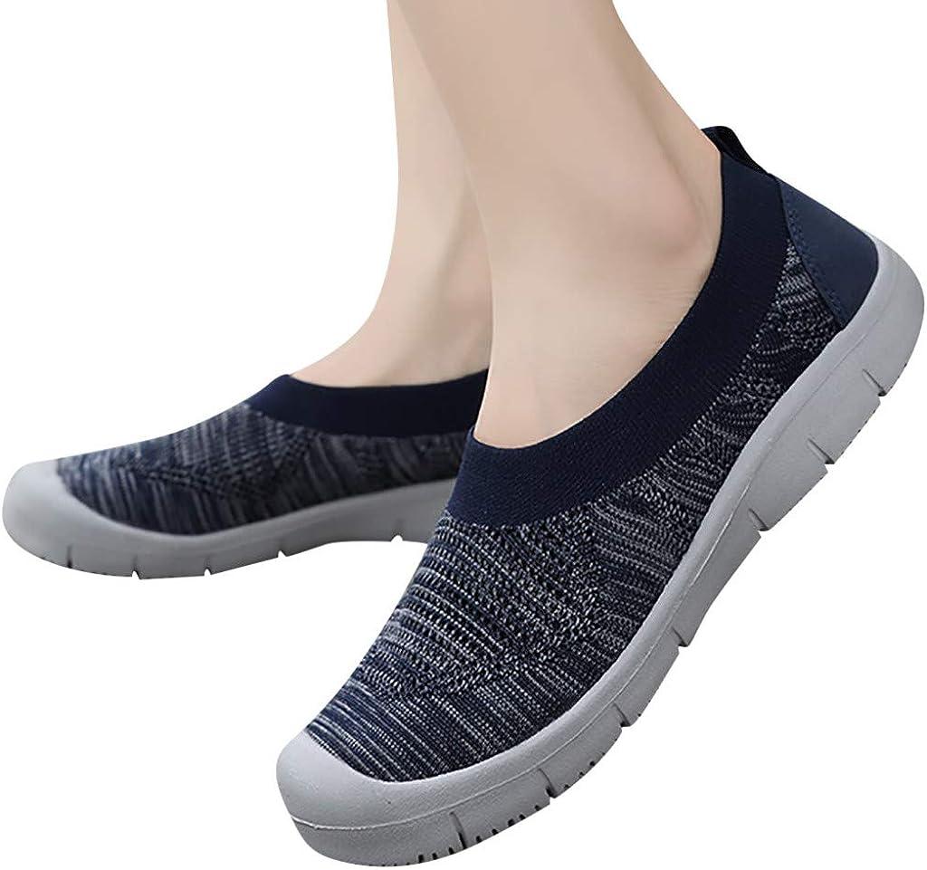 Lenfesh Moda para Mujer Color s/ólido Bombas sin Cordones Planas Un pie Calcetines Flexibles Casuales Zapatillas de Deporte Zapatillas de Deporte