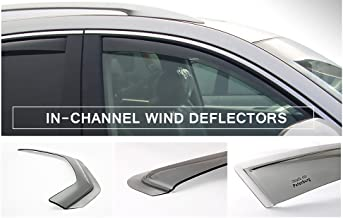 Tuningpros WD2-642 Outside Mount Window Visor Deflector Rain Guard Dark Smoke 4 Pcs Set Compatible With 2013-2016 Hyundai Santa Fe