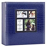 Benjia álbum de Fotos álbum deslizable 10 x 15 1000 Fotos Croco, álbum de Fotos Familiar de Boda Grande de Cuero Vintage para Insertar páginas Negras para 1000 Fotos de Bolsillo Azul