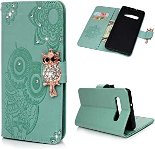 Galaxy S10 Plus Case, Wallet Flip Folio Case Kickstand Card Slots Wrist String Embossed Cute Owl Diamond PU Leather Wallet Shockproof TPU Bumper Slim Cover for Samsung Galaxy S10+ - Mint Green