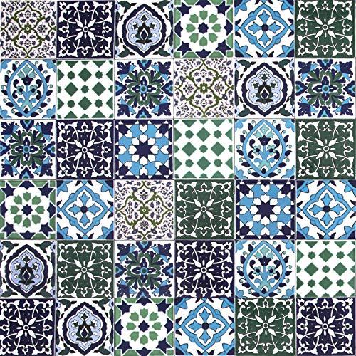 Cerames, baldosas de cerámica marroquí Muhit - 50 baldosas decorativas tunecinas orientales de 10 x 10 cm para el baño, la cocina, debajo de las escaleras. Azulejos decorativos de colores.