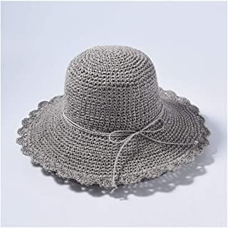 HongJie Hou New Straw hat hat Solid Color Wild Big Straw hat Female Travel Beach hat Sun hat (Color : Grey)
