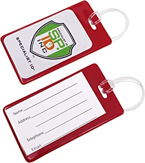 25 Pack - Bright Backpack ID Luggage Tags for Student Identification Cards - School Name Badge Holder for Backpacks - Business Card Size with Clear Insert Window by Specialist ID(Red)
