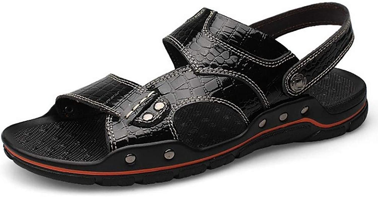 Oudan Men's Large Alligator Texture Flip Flops Summer Casual Leather Sandal (color   Black, Size   45)