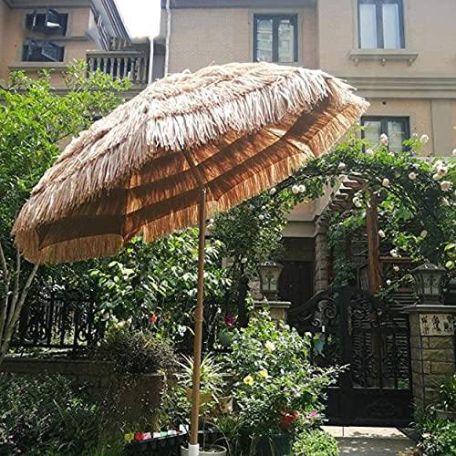 Sombrilla de playa de 6.6 pies / 2M, Sombrillas hawaianas para exteriores, Sombrilla portátil impermeable para patio, Sombrilla de jardín Tiki, Botón de presión inclinado, Con base cruzada + Bols