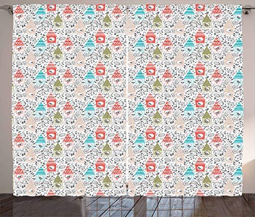 ABAKUHAUS Voorjaar Gordijnen, Bloemen Schets Vogelhuisjes, Woonkamer Slaapkamer Raamgordijnen 2-delige set, 280 x 260 cm, Veelkleurig