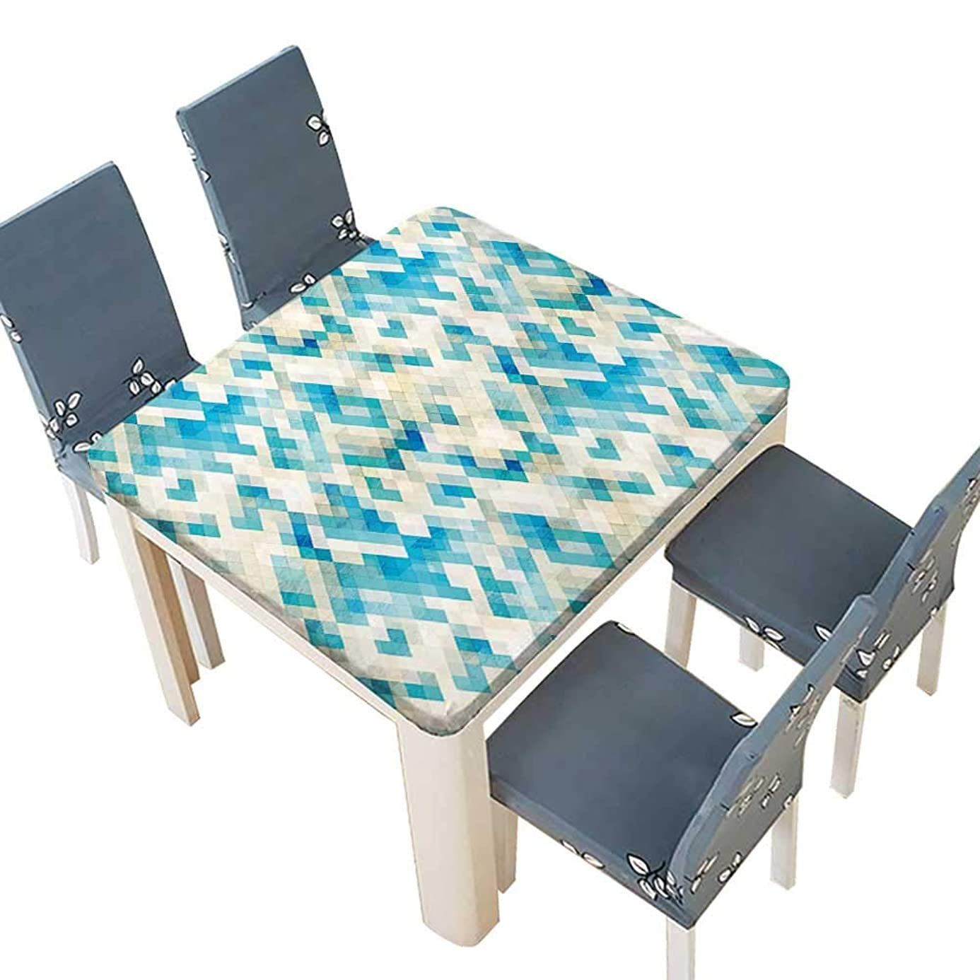 PINAFORE Tablecloth Waterproof Polyester Table Themed Hexagonal Shaped Abstract Modern Grunge Art Print White Cream Blue Turquoise Tablecloth Wedding/Party 41 x 41 INCH (Elastic Edge) xjj8627298