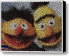 Sesame Street St. Ernie and Bert Bottle Cap Mosaic 9x11 Inch Limited Edition W/coa