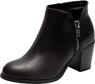 Women's Wide Width Ankle Boots - Mid Chunky Block Heels Round Toe Side Zipper Booties.…