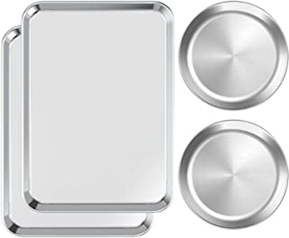 Baking Sheet with Pizza Pan Set 4, HKJ Chef 17.5Inch Cookie Sheet Stainless Steel Kitchen Baking Pans and 9Inch Round Pan ...