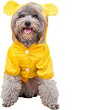 ccypet Small Dog Raincoat Poncho Water Proof Clothes with Hood Lightweight Rain Jacket,Bear-Yellow