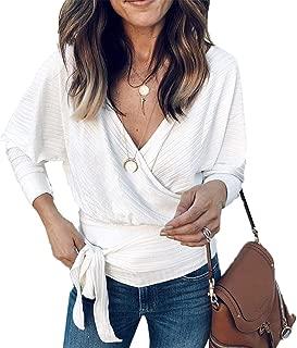 PRETTYGARDEN Women's Fashion Long Batwing Sleeve Sexy Wrap V Neck Shirt Blouse Elastic Tie Waist Backless Tunic Tops
