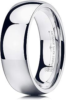 خاتم زفاف من التيتانيوم والتنجستن للنساء والرجال مطلي بالفضة ومصقول من ثري كيز جوليري 1 ملم 2 ملم 4 ملم 6 ملم 8 ملم