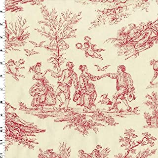Ivory/Rose Red Toile Jacquard Home Decorating Fabric, Fabric by The Yard